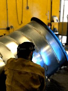 "DCS crew welding a large 48"" elbow."